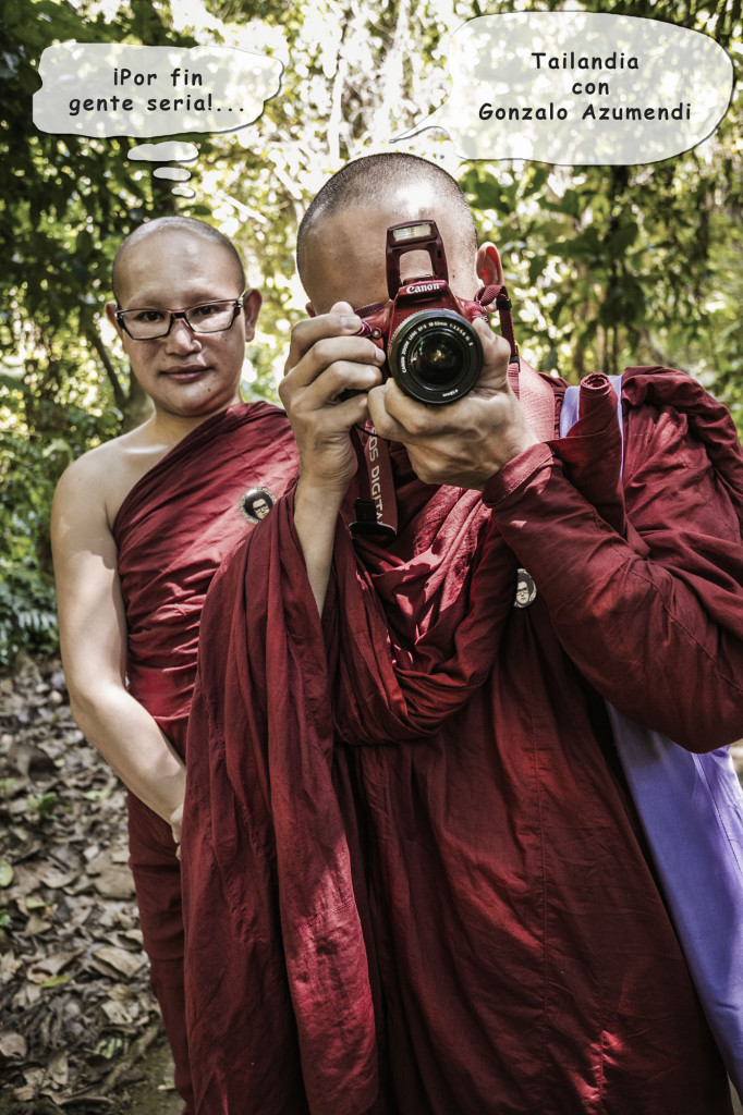 Monks at Kuang Si waterfall in the jungle near Luang Prabang. Laos. Asia. World heritage of UNESCO