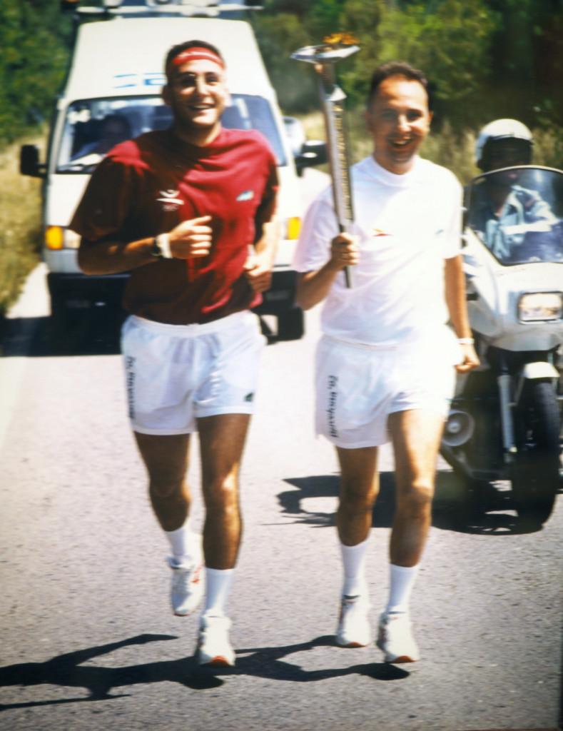 Con la antorcha olímpica en Barcelona 92