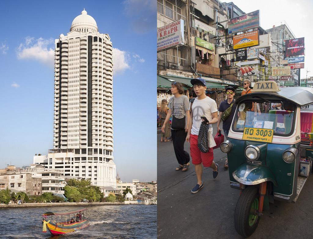 Río Chao Phraya y calle de Kao San