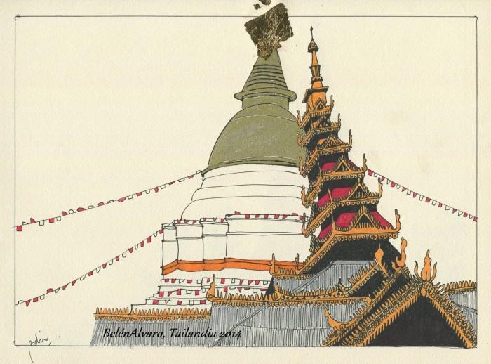 Turismo de Tailandia_BelénAlvaro - ILUST Tai (8) - Templo banderas