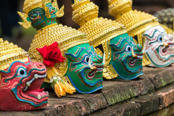 Turismo de Tailandia:Ayutthaya-Wat Borom Phuttharam-Khon (โขน) 183384MK_
