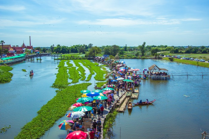 Turismo de Tailandia - Saphan Khong Floating Market, Suphan Buri