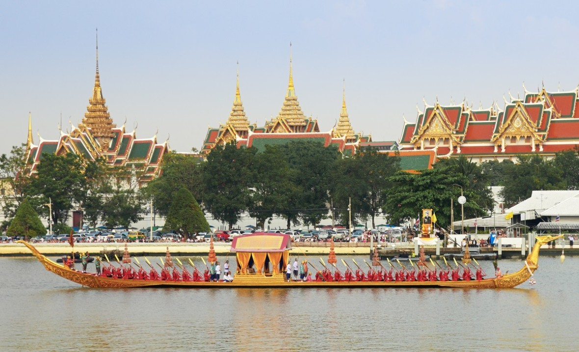 The procession of the Royal Barge at Chao Praya River, Bangkok